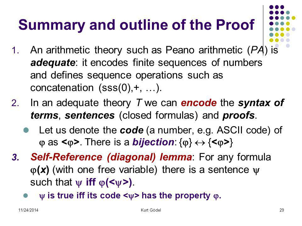 11/24/2014Kurt Gödel29 Summary and outline of the Proof 1. An arithmetic theory such as Peano arithmetic (PA) is adequate: it encodes finite sequences