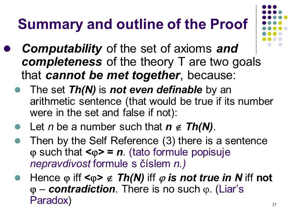 31 Summary and outline of the Proof Computability of the set of axioms and completeness of the theory T are two goals that cannot be met together, bec
