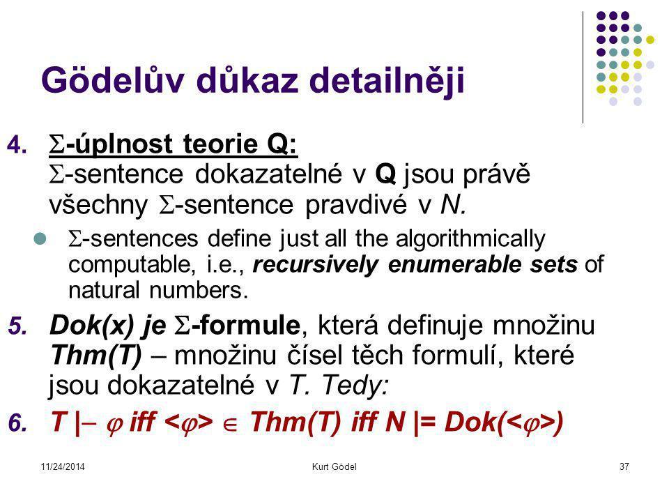 11/24/2014Kurt Gödel37 Gödelův důkaz detailněji 4.