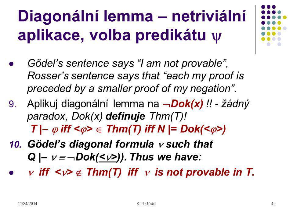 11/24/2014Kurt Gödel40 Diagonální lemma – netriviální aplikace, volba predikátu  Gödel's sentence says I am not provable , Rosser's sentence says that each my proof is preceded by a smaller proof of my negation .