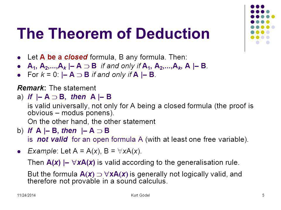 11/24/2014Kurt Gödel46 Proč Hilbert tak nutně potřeboval důkaz konzistence.