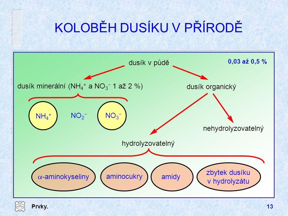 Prvky.13 KOLOBĚH DUSÍKU V PŘÍRODĚ dusík v půdě dusík organický nehydrolyzovatelný hydrolyzovatelný  -aminokyseliny amidy aminocukry zbytek dusíku v h