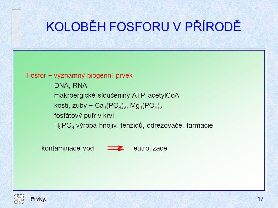 Prvky.17 KOLOBĚH FOSFORU V PŘÍRODĚ Fosfor − významný biogenní prvek DNA, RNA makroergické sloučeniny ATP, acetylCoA kosti, zuby − Ca 3 (PO 4 ) 2, Mg 3 (PO 4 ) 2 fosfátový pufr v krvi H 3 PO 4 výroba hnojiv, tenzidů, odrezovače, farmacie kontaminace vodeutrofizace