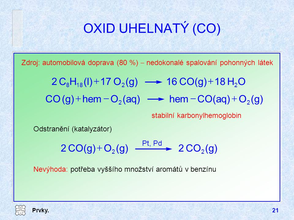 Prvky.21 OXID UHELNATÝ (CO) Zdroj: automobilová doprava (80 %)  nedokonalé spalování pohonných látek Odstranění (katalyzátor) Nevýhoda: potřeba vyššího množství aromátů v benzínu OH18CO(g)16(g)O17(l)HC2 22188  (g)OCO(aq)hem(aq)Ohem(g)CO 22  stabilní karbonylhemoglobin (g)CO2(g)OCO(g)2 22  Pt, Pd