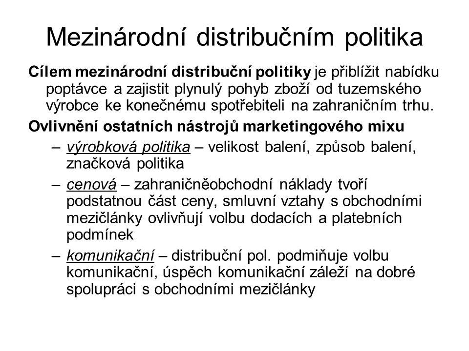 Faktory ovlivňující volbu mezinárodní distribuční politiky analýza nákupního a spotřebního chování povaha zboží analýza zahraniční a tuzemské konkurence ekonomické aspekty analýza odvětví na zvoleném trhu vnitropodnikové faktory