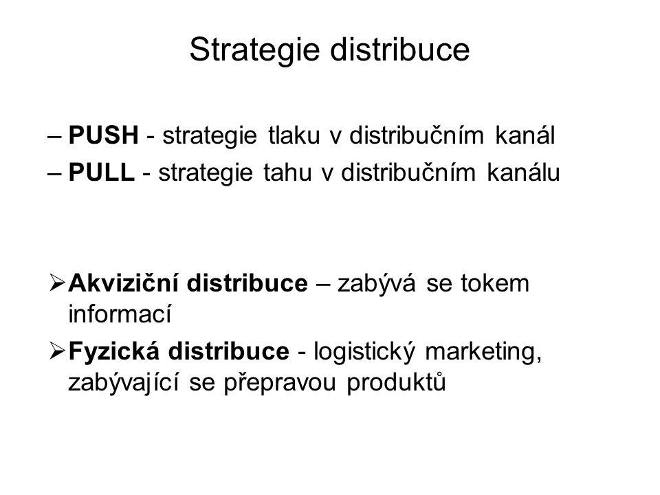 Strategie distribuce –PUSH - strategie tlaku v distribučním kanál –PULL - strategie tahu v distribučním kanálu  Akviziční distribuce – zabývá se tokem informací  Fyzická distribuce - logistický marketing, zabývající se přepravou produktů