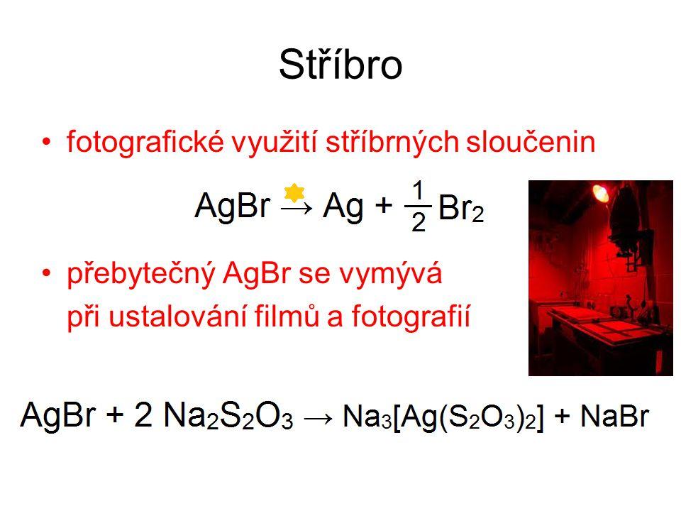 Stříbro fotografické využití stříbrných sloučenin přebytečný AgBr se vymývá při ustalování filmů a fotografií