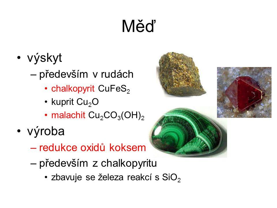 Měď výskyt –především v rudách chalkopyrit CuFeS 2 kuprit Cu 2 O malachit Cu 2 CO 3 (OH) 2 výroba –redukce oxidů koksem –především z chalkopyritu zbav
