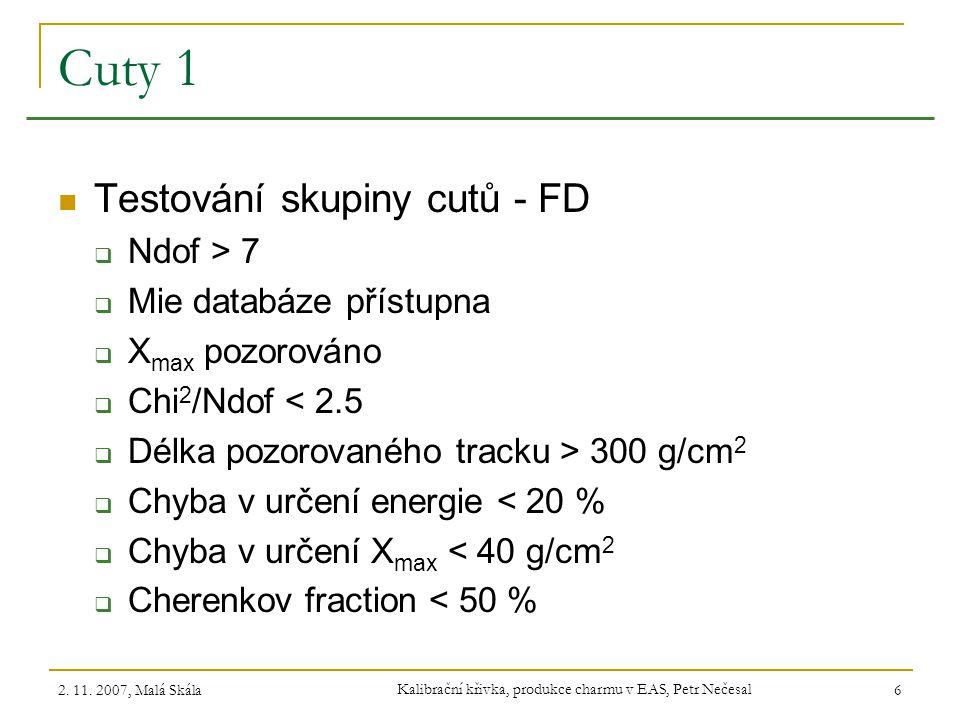 2. 11. 2007, Malá Skála Kalibrační křivka, produkce charmu v EAS, Petr Nečesal 6 Cuty 1 Testování skupiny cutů - FD  Ndof > 7  Mie databáze přístupn