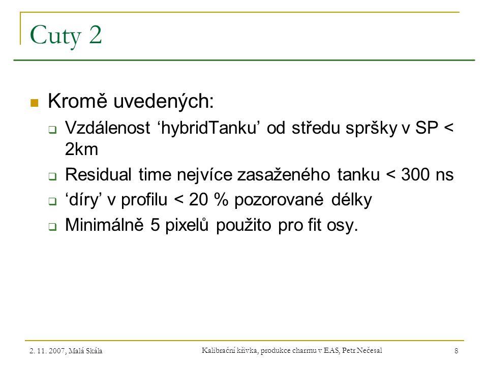 2. 11. 2007, Malá Skála Kalibrační křivka, produkce charmu v EAS, Petr Nečesal 8 Cuty 2 Kromě uvedených:  Vzdálenost 'hybridTanku' od středu spršky v