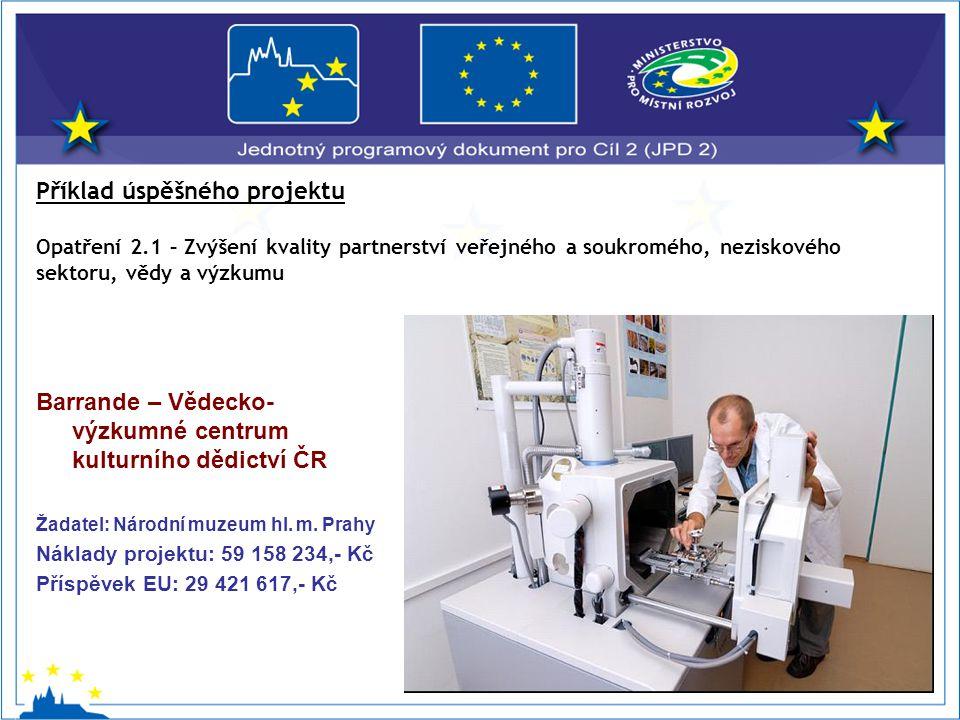 Barrande – Vědecko- výzkumné centrum kulturního dědictví ČR Žadatel: Národní muzeum hl.