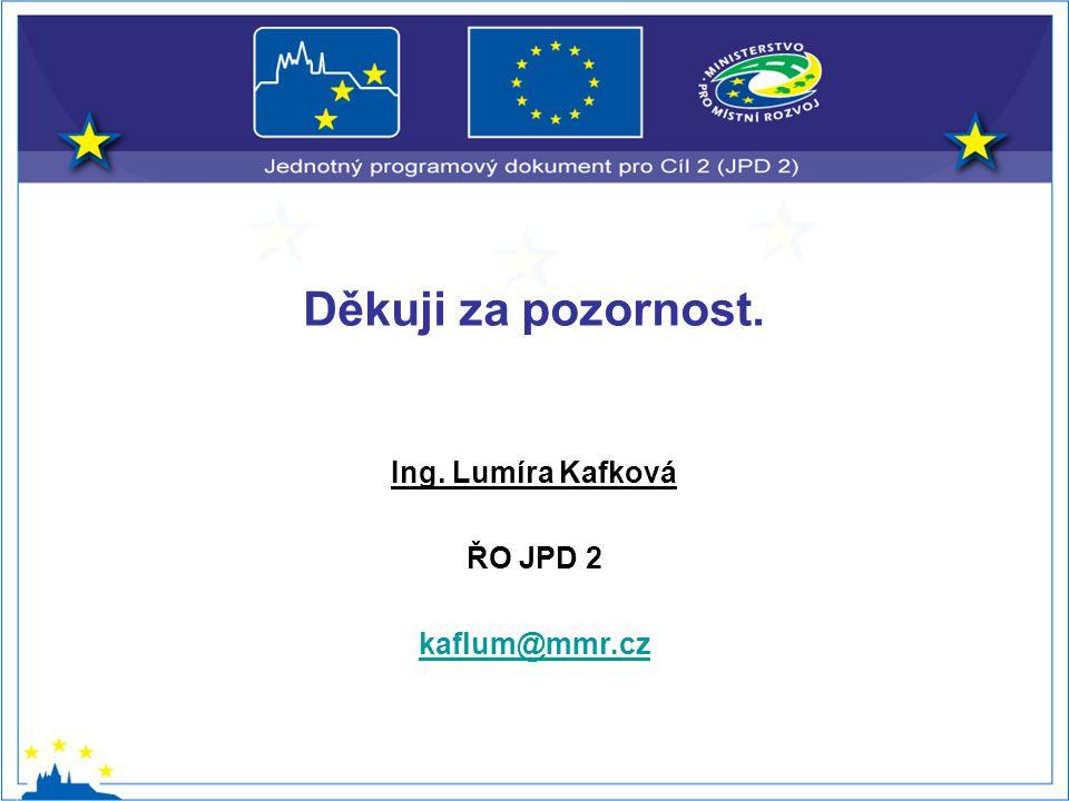 Děkuji za pozornost. Ing. Lumíra Kafková ŘO JPD 2 kaflum@mmr.cz