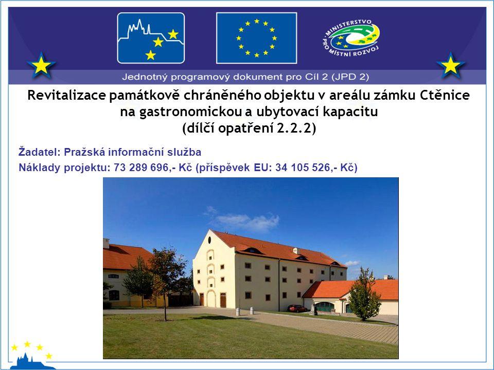Revitalizace památkově chráněného objektu v areálu zámku Ctěnice na gastronomickou a ubytovací kapacitu (dílčí opatření 2.2.2) Žadatel: Pražská informační služba Náklady projektu: 73 289 696,- Kč (příspěvek EU: 34 105 526,- Kč)