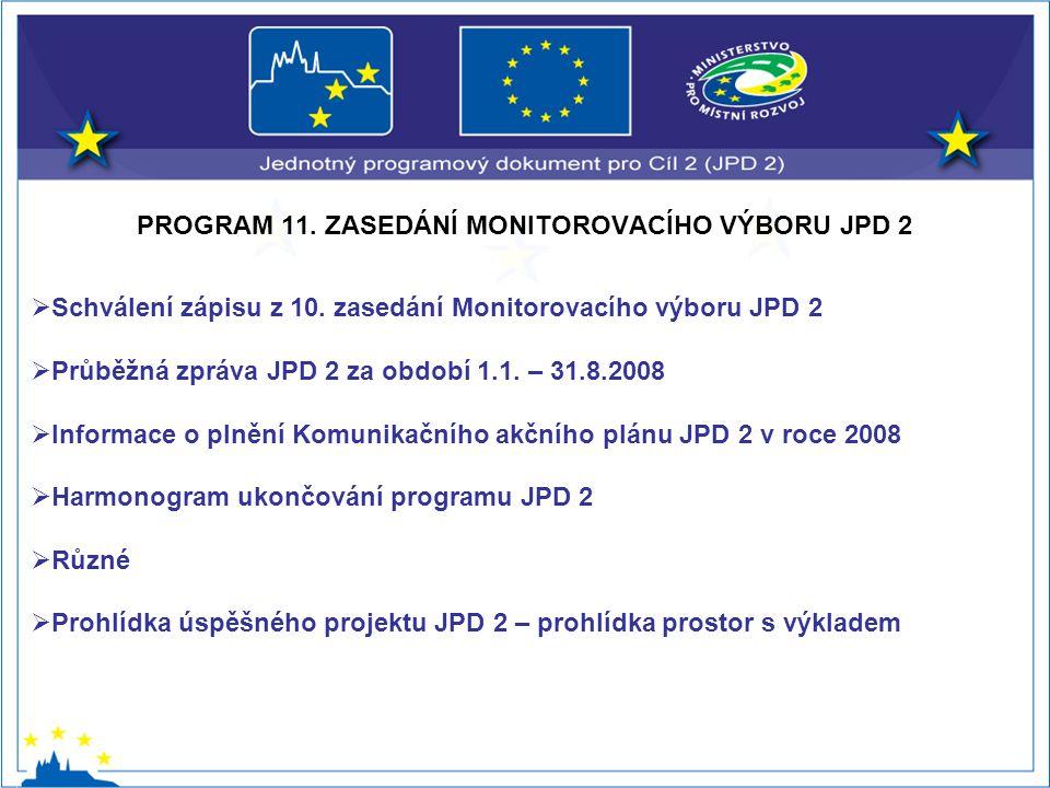 PROGRAM 11. ZASEDÁNÍ MONITOROVACÍHO VÝBORU JPD 2  Schválení zápisu z 10.