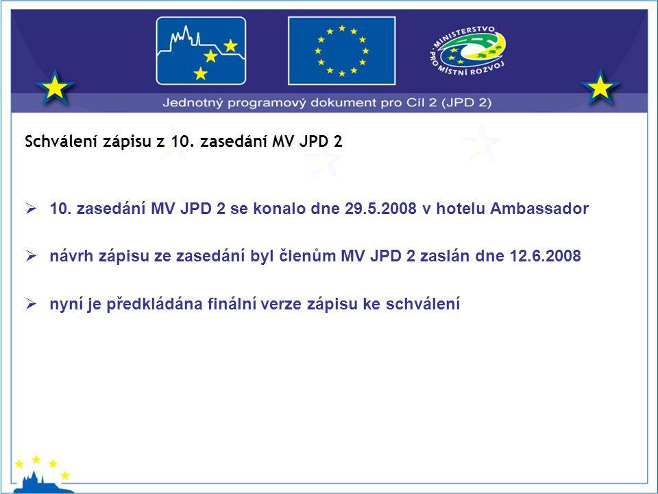  10. zasedání MV JPD 2 se konalo dne 29.5.2008 v hotelu Ambassador  návrh zápisu ze zasedání byl členům MV JPD 2 zaslán dne 12.6.2008  nyní je před