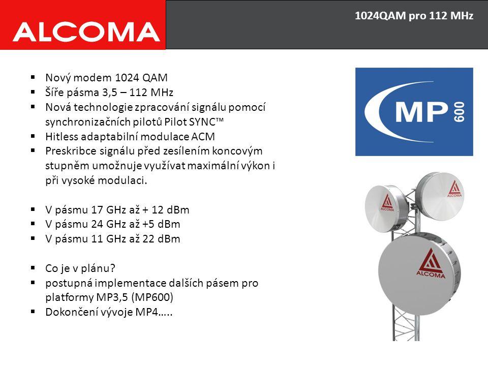 1024QAM pro 112 MHz  Nový modem 1024 QAM  Šíře pásma 3,5 – 112 MHz  Nová technologie zpracování signálu pomocí synchronizačních pilotů Pilot SYNC™