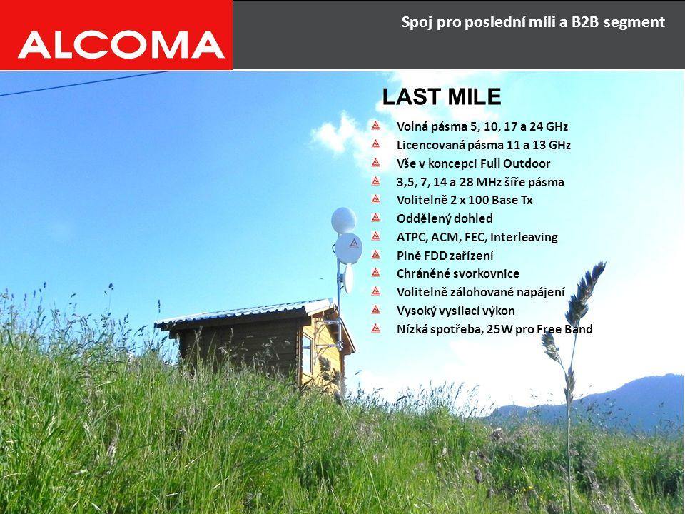 Spoj pro poslední míli a B2B segment LAST MILE Volná pásma 5, 10, 17 a 24 GHz Licencovaná pásma 11 a 13 GHz Vše v koncepci Full Outdoor 3,5, 7, 14 a 2