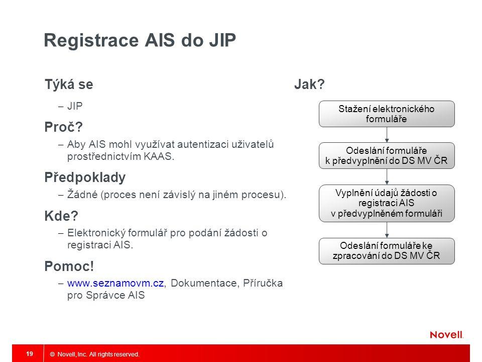 © Novell, Inc. All rights reserved. 19 Registrace AIS do JIP Týká se – JIP Proč? – Aby AIS mohl využívat autentizaci uživatelů prostřednictvím KAAS. P