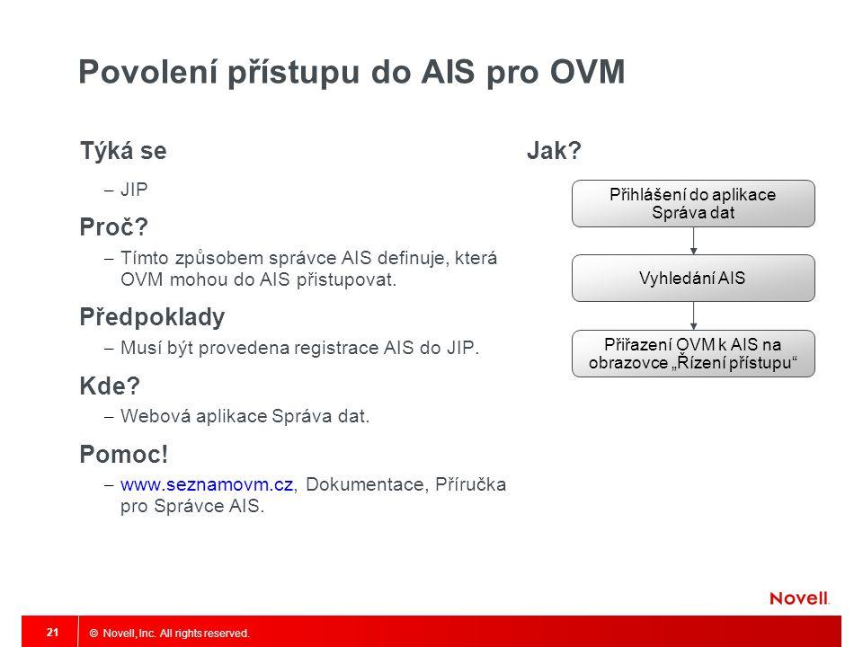 © Novell, Inc. All rights reserved. 21 Povolení přístupu do AIS pro OVM Týká se – JIP Proč? – Tímto způsobem správce AIS definuje, která OVM mohou do