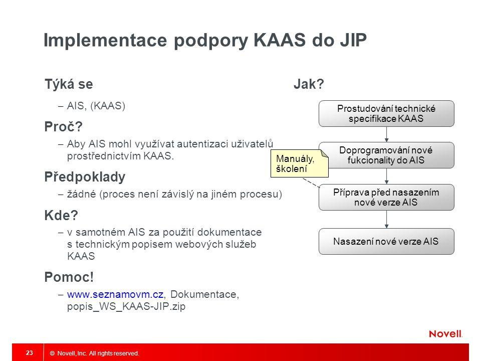 © Novell, Inc. All rights reserved. 23 Implementace podpory KAAS do JIP Týká se – AIS, (KAAS) Proč? – Aby AIS mohl využívat autentizaci uživatelů pros
