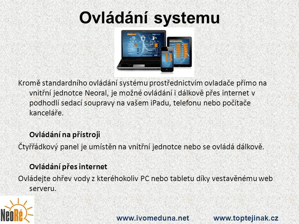 Ovládání systemu Kromě standardního ovládání systému prostřednictvím ovladače přímo na vnitřní jednotce Neoral, je možné ovládání i dálkově přes inter