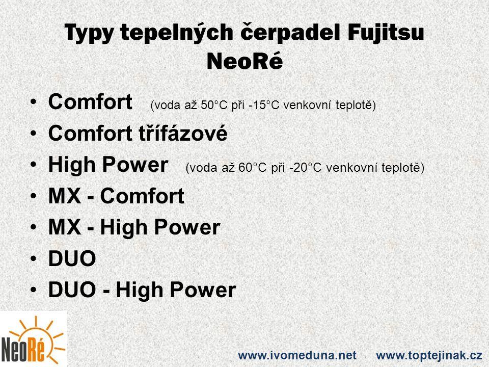 Typy tepelných čerpadel Fujitsu NeoRé Comfort (voda až 50°C při -15°C venkovní teplotě) Comfort třífázové High Power (voda až 60°C při -20°C venkovní