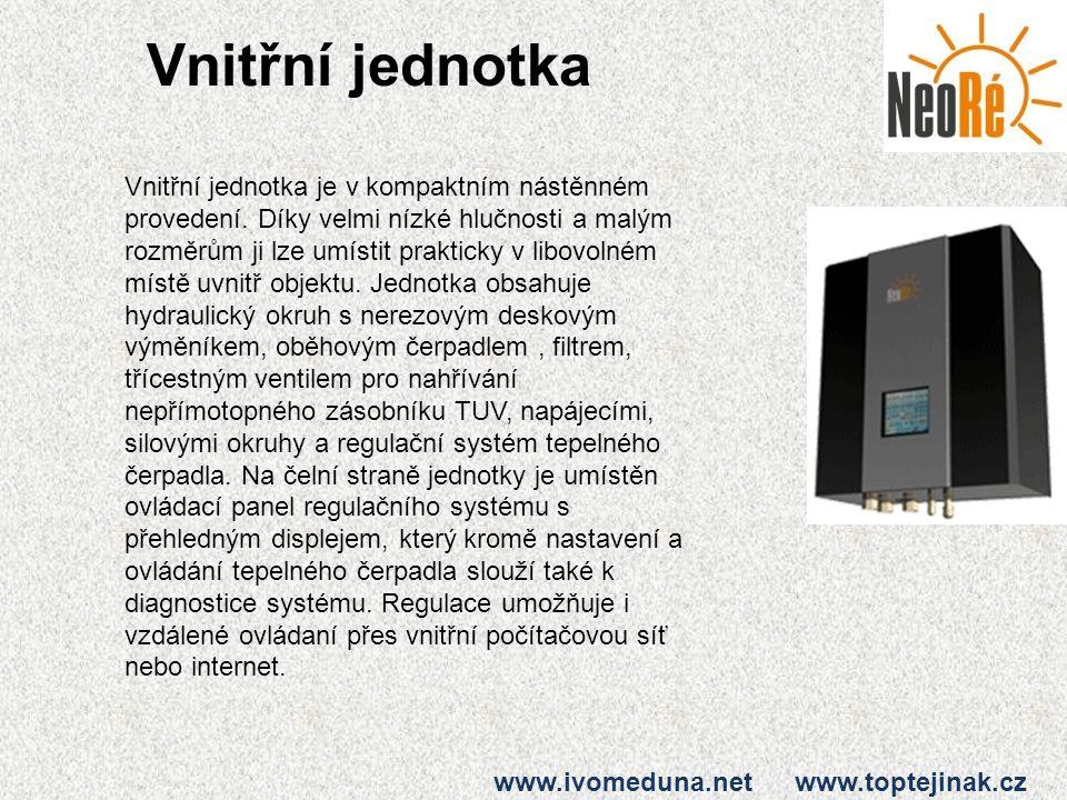 Vnitřní jednotka www.ivomeduna.net www.toptejinak.cz Vnitřní jednotka je v kompaktním nástěnném provedení. Díky velmi nízké hlučnosti a malým rozměrům