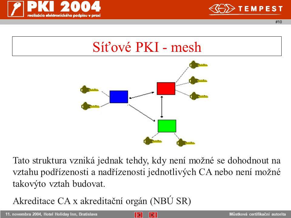 Můstková certifikační autorita11. novembra 2004, Hotel Holiday Inn, Bratislava #10 Tato struktura vzniká jednak tehdy, kdy není možné se dohodnout na