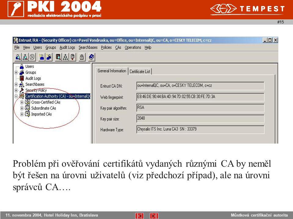 Můstková certifikační autorita11. novembra 2004, Hotel Holiday Inn, Bratislava #15 Problém při ověřování certifikátů vydaných různými CA by neměl být