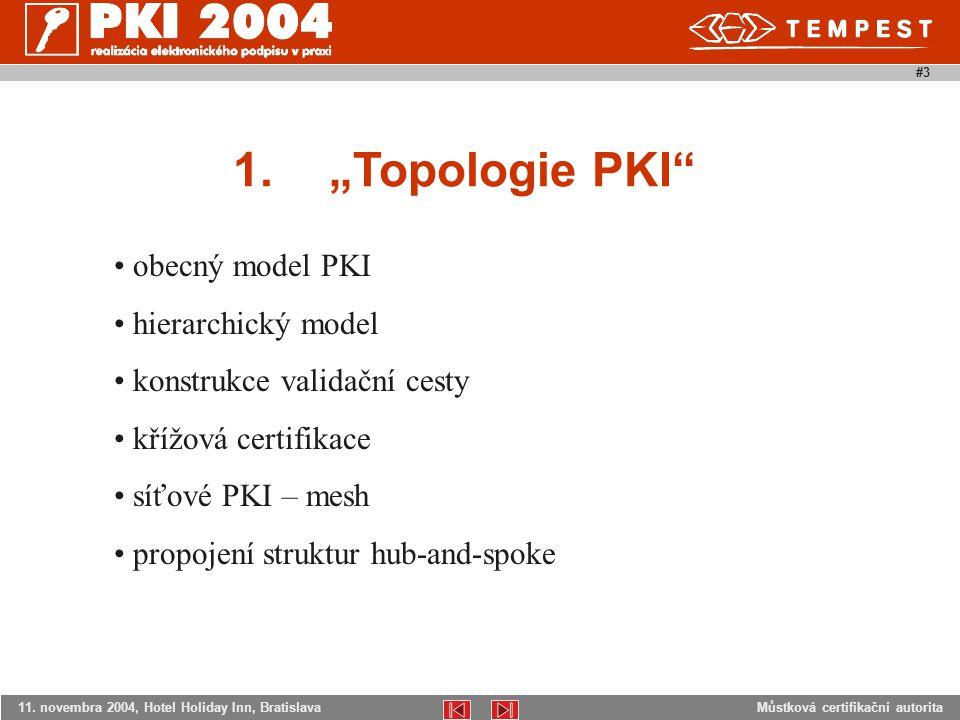 """Můstková certifikační autorita11. novembra 2004, Hotel Holiday Inn, Bratislava #3 1.""""Topologie PKI"""" obecný model PKI hierarchický model konstrukce val"""