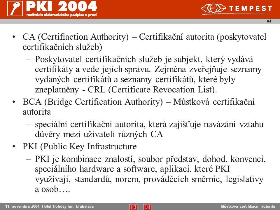 Můstková certifikační autorita11. novembra 2004, Hotel Holiday Inn, Bratislava #4 CA (Certifiaction Authority) – Certifikační autorita (poskytovatel c