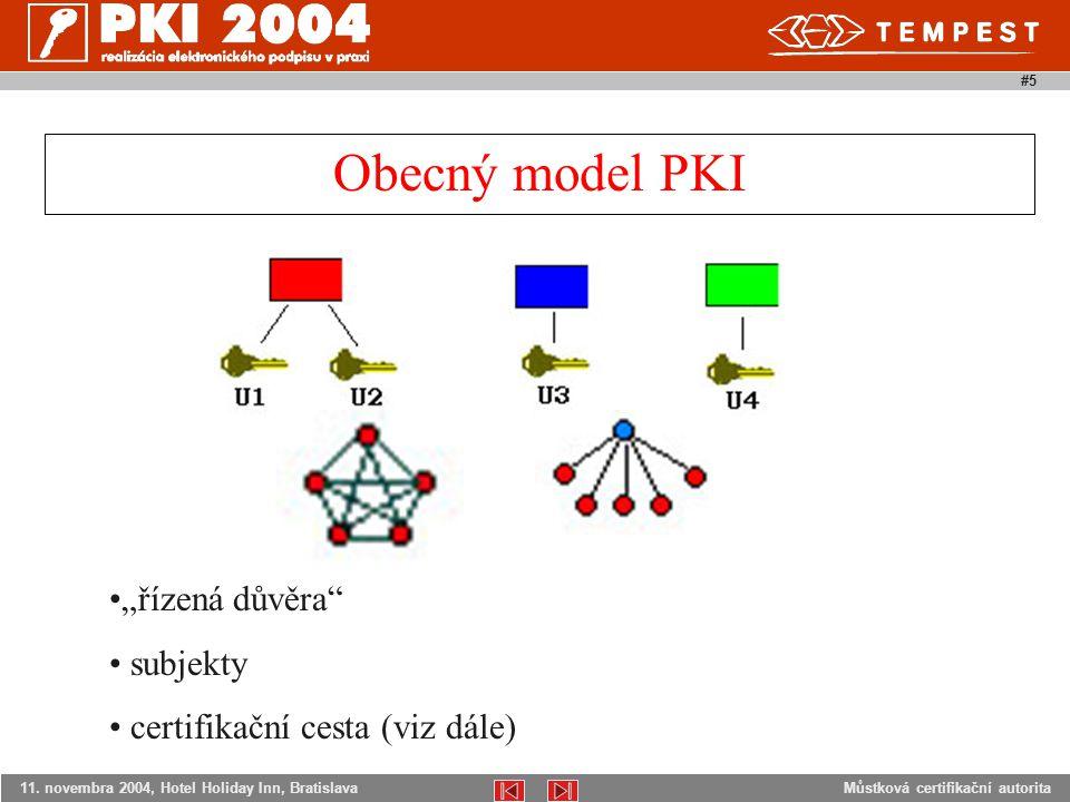 """Můstková certifikační autorita11. novembra 2004, Hotel Holiday Inn, Bratislava #5 Obecný model PKI """"řízená důvěra"""" subjekty certifikační cesta (viz dá"""