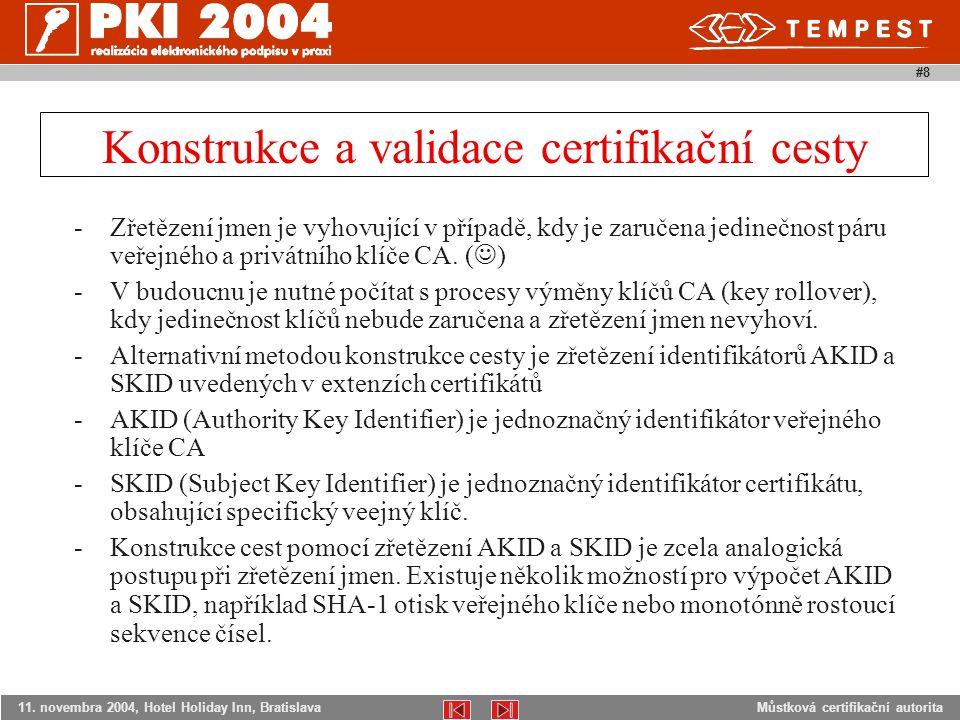 Můstková certifikační autorita11. novembra 2004, Hotel Holiday Inn, Bratislava #8 -Zřetězení jmen je vyhovující v případě, kdy je zaručena jedinečnost