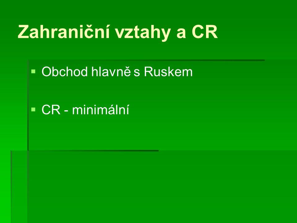 Zahraniční vztahy a CR   Obchod hlavně s Ruskem   CR - minimální