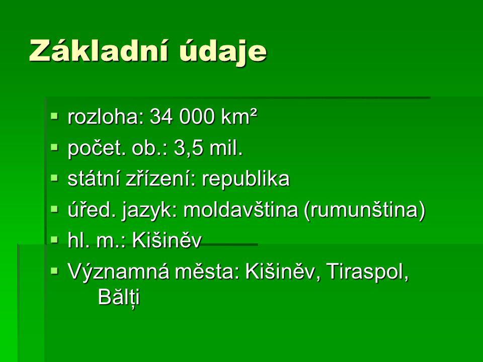 Základní údaje  rozloha: 34 000 km²  počet. ob.: 3,5 mil.  státní zřízení: republika  úřed. jazyk: moldavština (rumunština)  hl. m.: Kišiněv  Vý