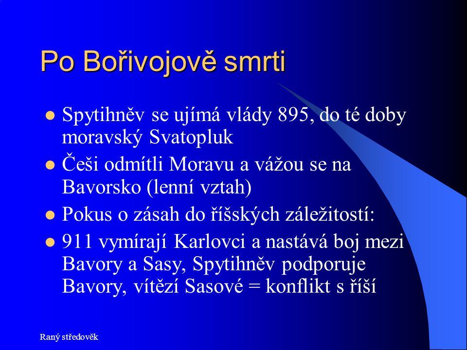 Po Bořivojově smrti Spytihněv se ujímá vlády 895, do té doby moravský Svatopluk Češi odmítli Moravu a vážou se na Bavorsko (lenní vztah) Pokus o zásah