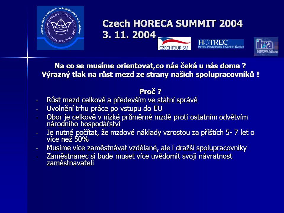 Czech HORECA SUMMIT 2004 3. 11. 2004 Na co se musíme orientovat,co nás čeká u nás doma .