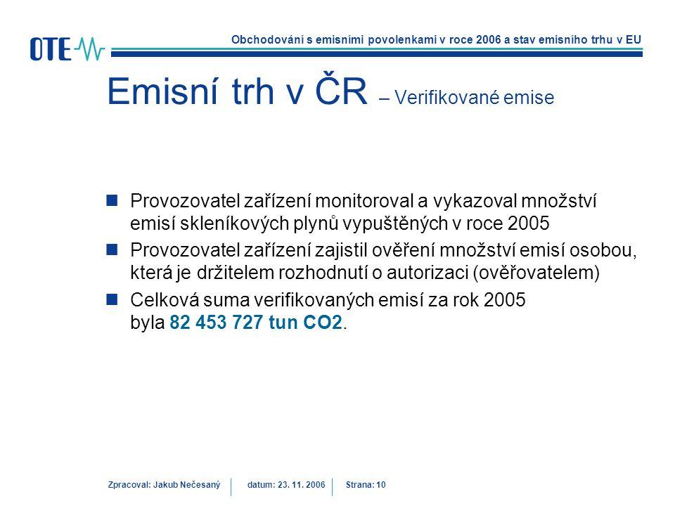 Obchodování s emisními povolenkami v roce 2006 a stav emisního trhu v EU Zpracoval: Jakub Nečesanýdatum: 23. 11. 2006 Strana: 10 Emisní trh v ČR – Ver