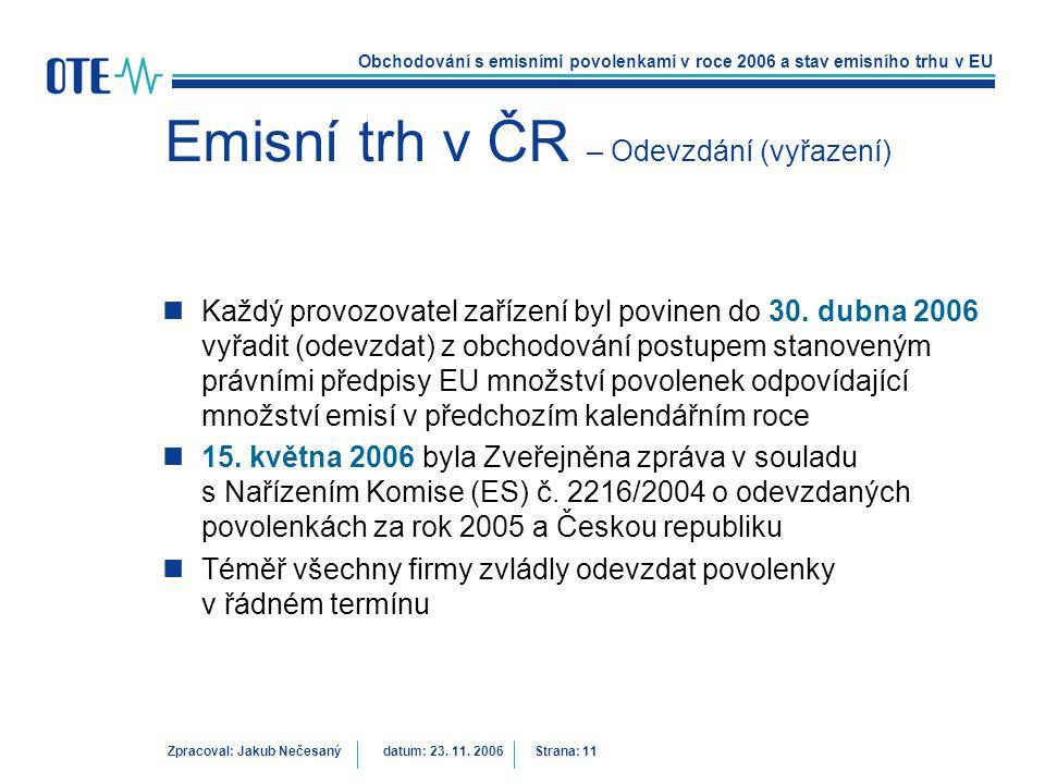 Obchodování s emisními povolenkami v roce 2006 a stav emisního trhu v EU Zpracoval: Jakub Nečesanýdatum: 23. 11. 2006 Strana: 11 Emisní trh v ČR – Ode