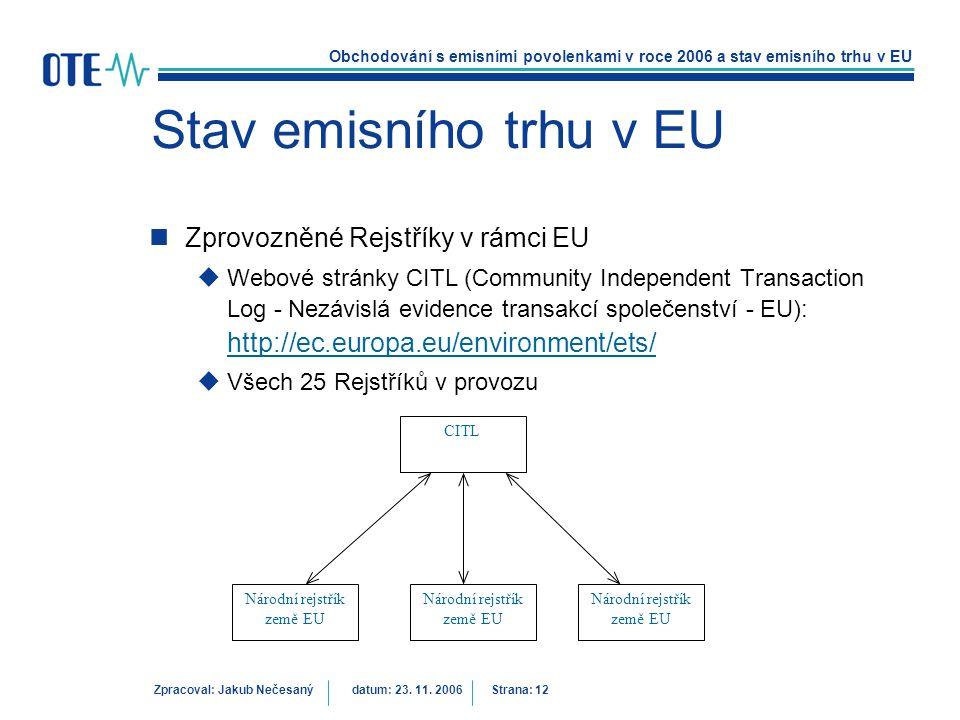 Obchodování s emisními povolenkami v roce 2006 a stav emisního trhu v EU Zpracoval: Jakub Nečesanýdatum: 23. 11. 2006 Strana: 12 Stav emisního trhu v
