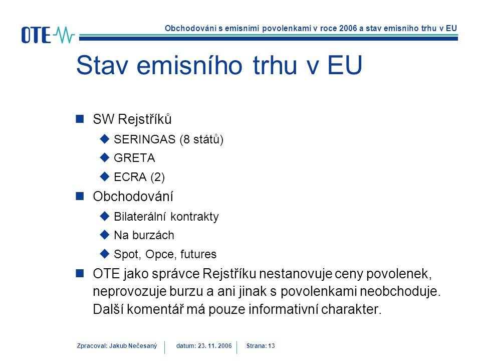 Obchodování s emisními povolenkami v roce 2006 a stav emisního trhu v EU Zpracoval: Jakub Nečesanýdatum: 23. 11. 2006 Strana: 13 Stav emisního trhu v