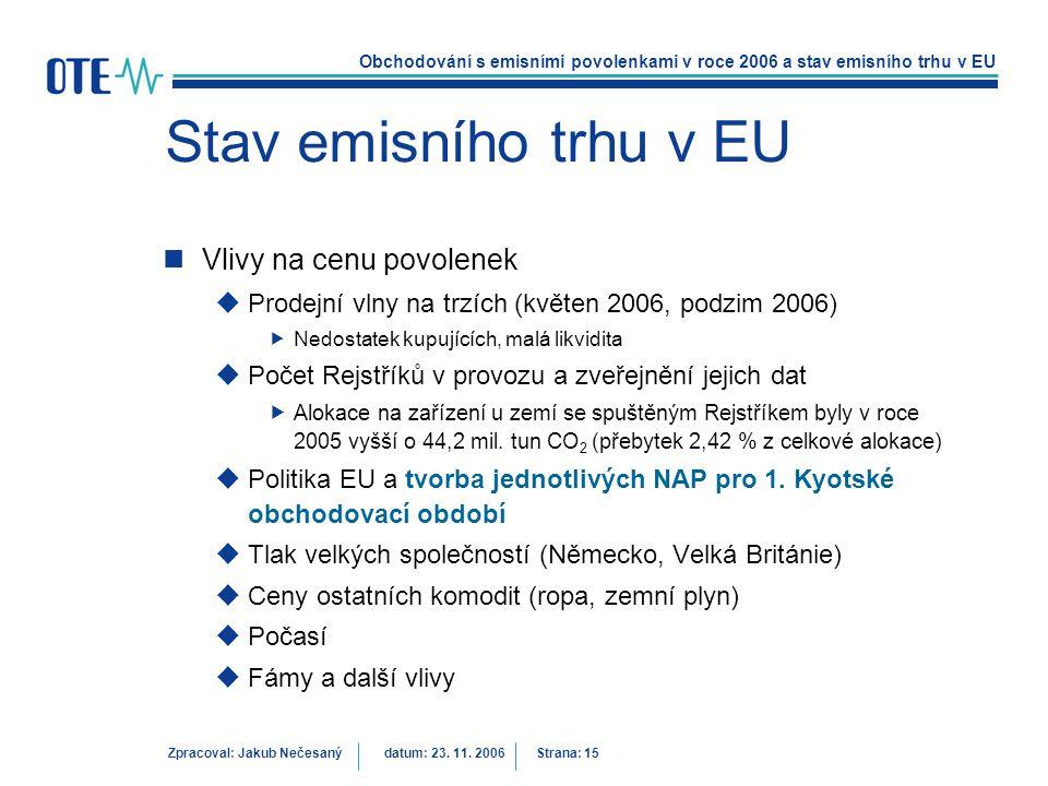 Obchodování s emisními povolenkami v roce 2006 a stav emisního trhu v EU Zpracoval: Jakub Nečesanýdatum: 23. 11. 2006 Strana: 15 Stav emisního trhu v