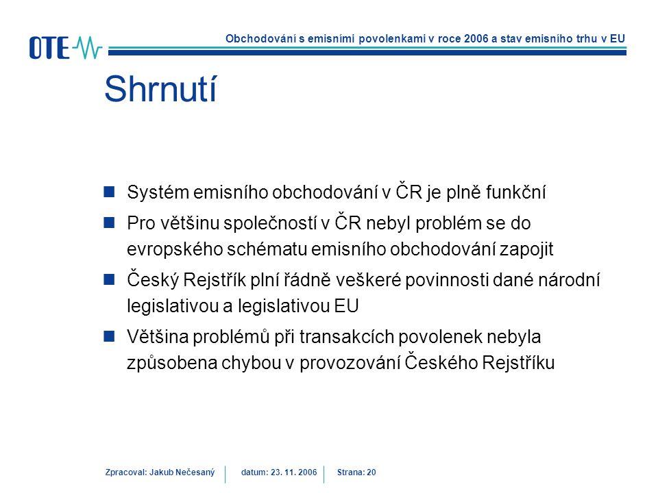 Obchodování s emisními povolenkami v roce 2006 a stav emisního trhu v EU Zpracoval: Jakub Nečesanýdatum: 23. 11. 2006 Strana: 20 Shrnutí Systém emisní