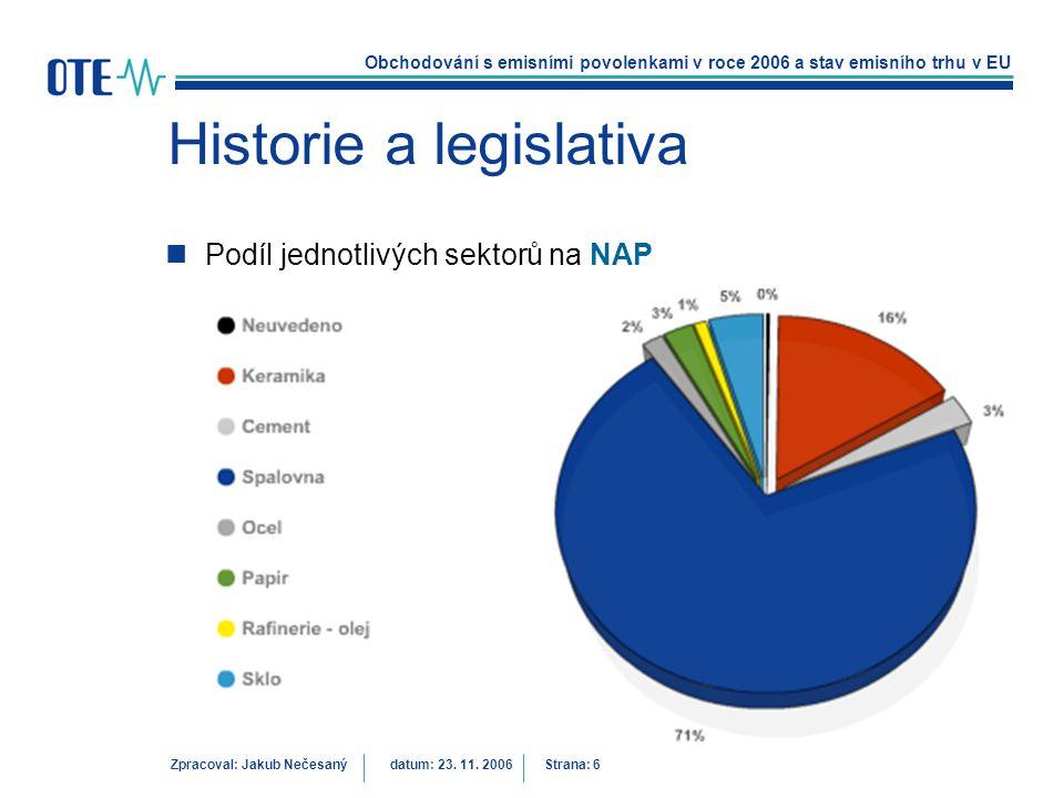Obchodování s emisními povolenkami v roce 2006 a stav emisního trhu v EU Zpracoval: Jakub Nečesanýdatum: 23. 11. 2006 Strana: 6 Historie a legislativa