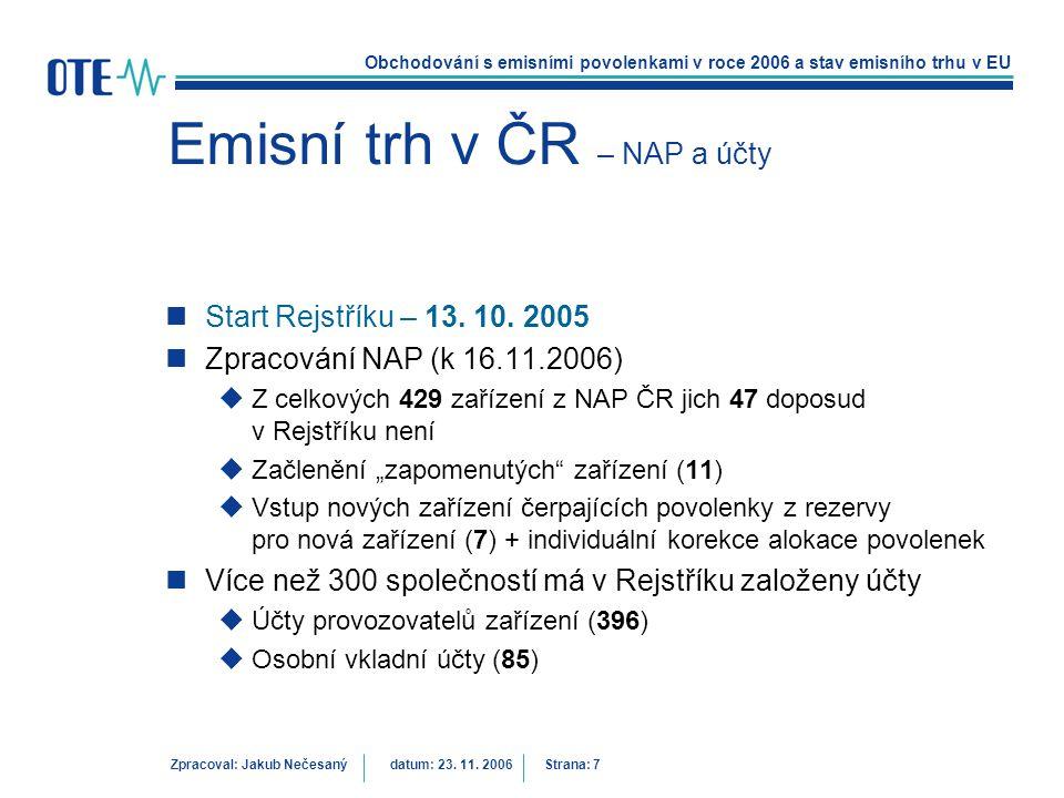 Obchodování s emisními povolenkami v roce 2006 a stav emisního trhu v EU Zpracoval: Jakub Nečesanýdatum: 23. 11. 2006 Strana: 7 Emisní trh v ČR – NAP