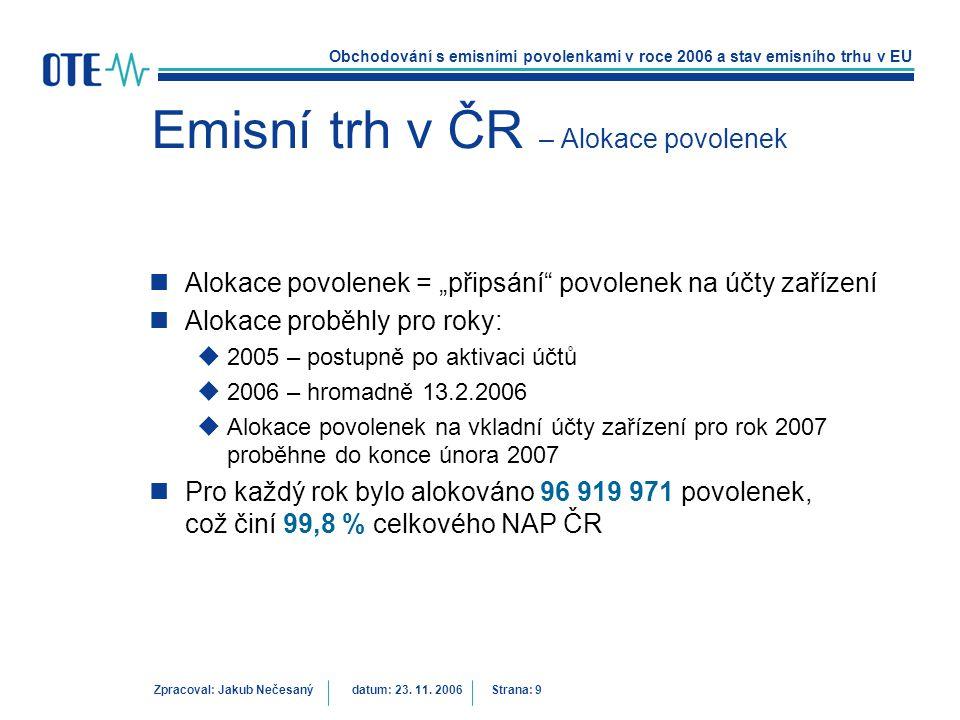 Obchodování s emisními povolenkami v roce 2006 a stav emisního trhu v EU Zpracoval: Jakub Nečesanýdatum: 23. 11. 2006 Strana: 9 Emisní trh v ČR – Alok
