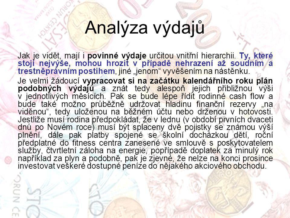 Analýza výdajů Jak je vidět, mají i povinné výdaje určitou vnitřní hierarchii.