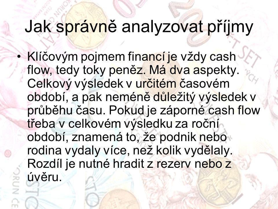 Jak správně analyzovat příjmy Klíčovým pojmem financí je vždy cash flow, tedy toky peněz.