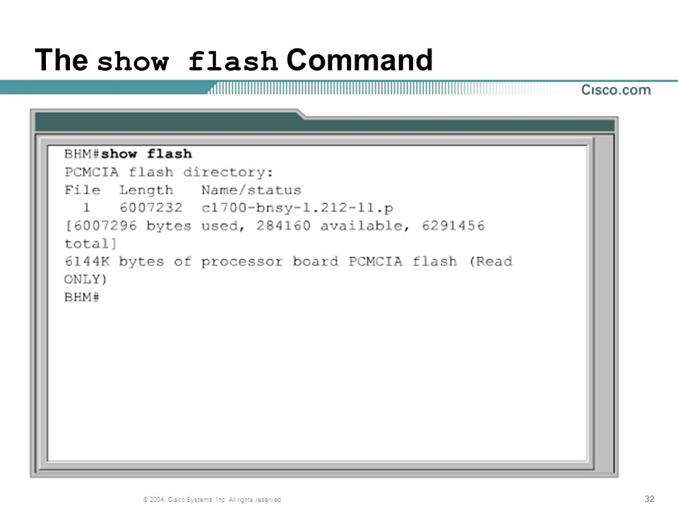 32 © 2004, Cisco Systems, Inc. All rights reserved. The show flash Command