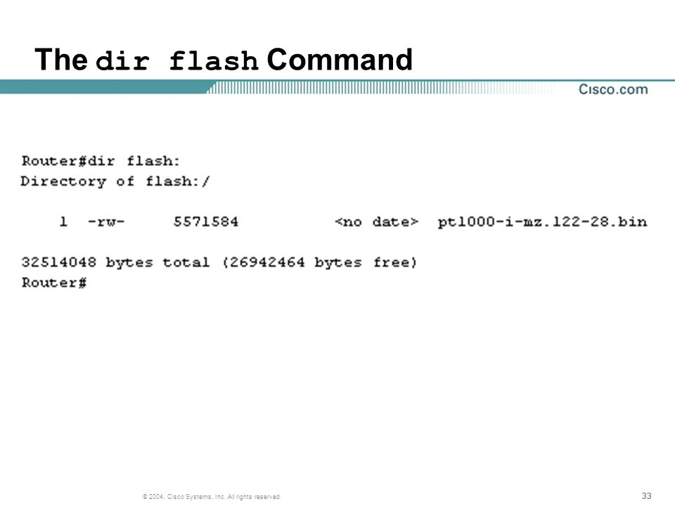 33 © 2004, Cisco Systems, Inc. All rights reserved. The dir flash Command